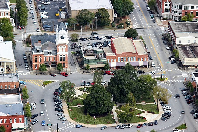 Aerial shot of the Covington Square